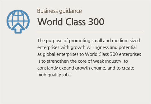 Business guidance World Class 300 : The purpose of promoting small and medium sized enterprises with growth willingness and potential as global enterprises to World Class 300 enterprises is to strengthen the core of weak industry, to constantly expand growth engine, and to create high quality jobs.